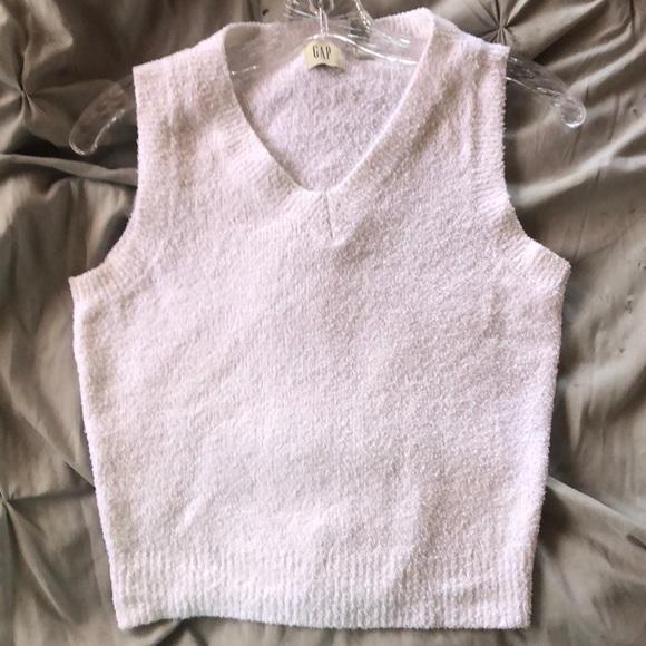 684ba6d8ab8 GAP Tops | White Fuzzy Crop Top Sleeveless Sweater | Poshmark
